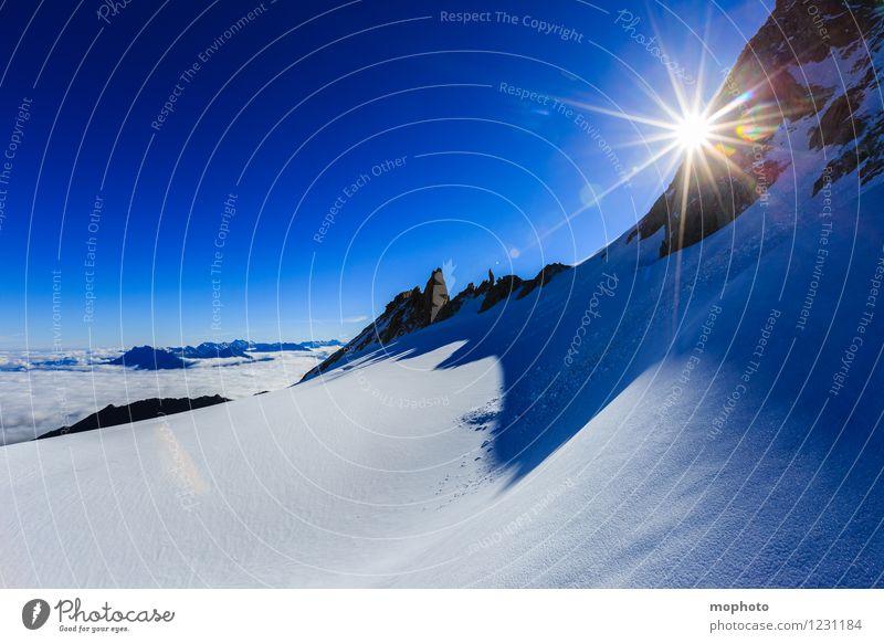 Stratosphäre Natur Ferien & Urlaub & Reisen blau weiß Sonne Landschaft Berge u. Gebirge Umwelt Schnee Felsen Horizont Eis Freizeit & Hobby wandern Idylle