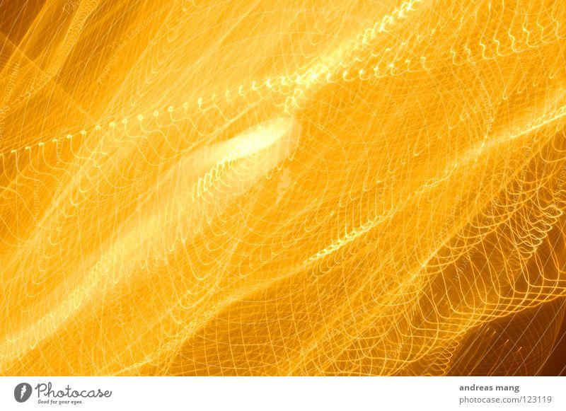 organic/abstract Design gelb Licht Strahlung Explosion Streifen grell Langzeitbelichtung Kunst abstrakt durcheinander chaotisch orange Linie lines light beam