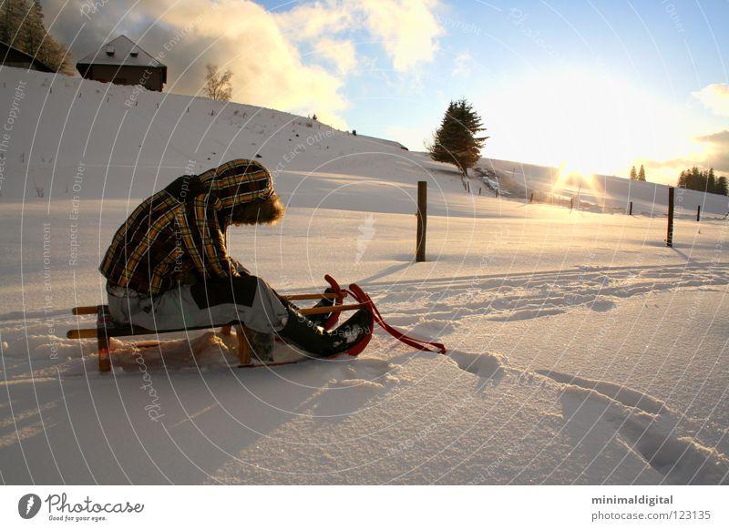 aus und vorbei Schlitten Rodeln Winter kalt Gegenlicht Trauer Wolken weiß gefroren Baum Schnee Sonne Himmel blau Eis Hütte Alpen Tiefschnee Wintersonne