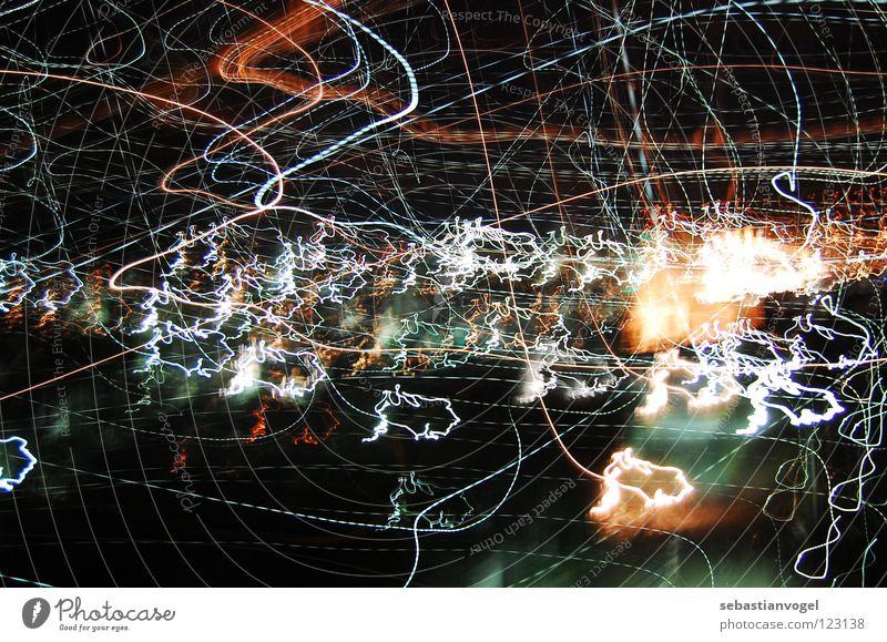 Lichter Langzeitbelichtung Wellen dunkel durcheinander Nacht Himmelskörper & Weltall Beleuchtung Farbe Unschärfe Linie