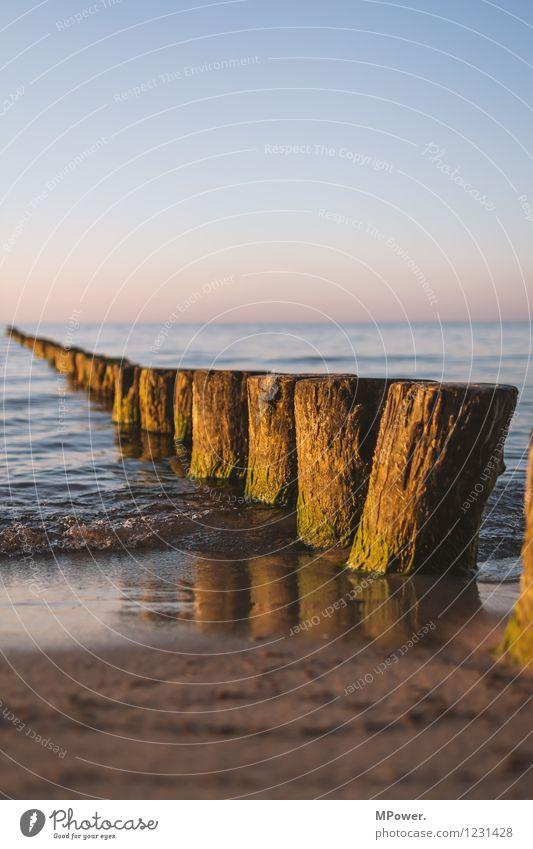 buhne frei Schönes Wetter Wellen Küste Bucht Ostsee blau braun Meer Strand Horizont Holz Buhne Sonnenuntergang Reflexion & Spiegelung Farbfoto Außenaufnahme
