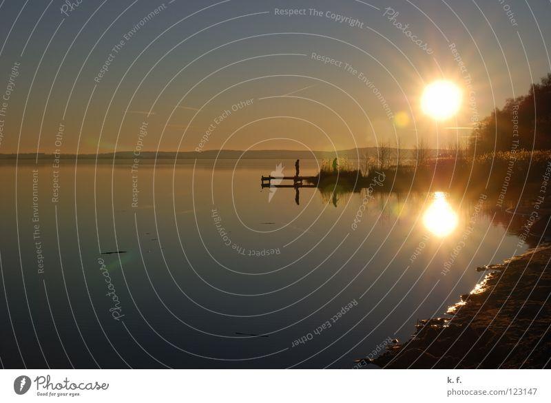 Winterabend Steinhuder Meer Steg Reflexion & Spiegelung Strand Wasser Küste Abend Mardorf