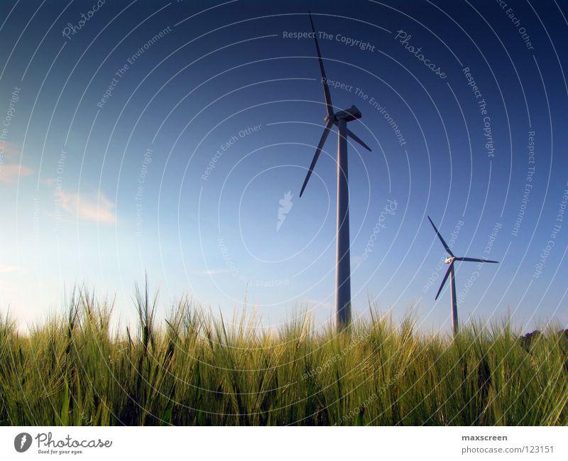 Windenergie Wissenschaften Industrie Energiewirtschaft High-Tech Erneuerbare Energie Windkraftanlage Umwelt Natur Landschaft Himmel Klima Klimawandel Wiese