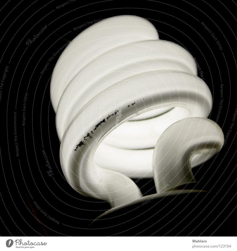 Energie Sparen Lampe sparen Energiesparlampe Elektrizität Spirale schwarz weiß glühen dunkel Leuchtstoff ökologisch sparsam Umwelt Elektrisches Gerät