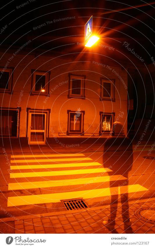 vergänglichkeit des seins Stadt Zebrastreifen Licht Mann durchsichtig Haus Beleuchtung beklemmend dunkel mystisch Nacht Langzeitbelichtung Fenster