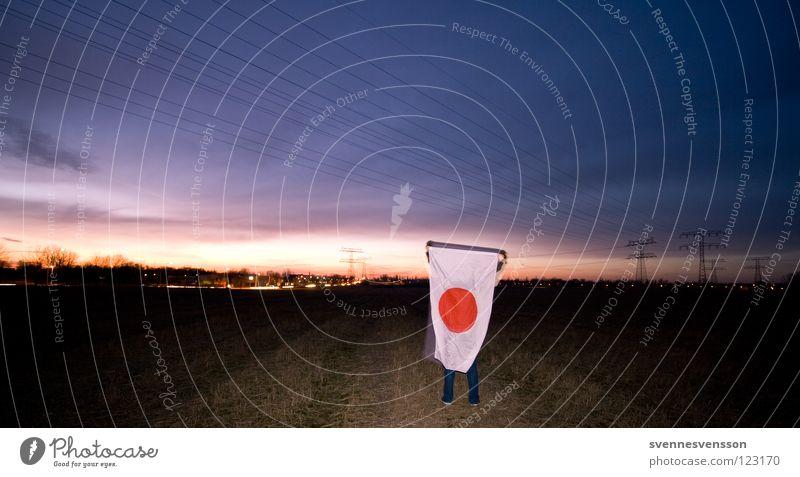Im Land der aufgehenden Sonne #1 Farbe Feld groß Elektrizität Fahne Asien Dinge festhalten Fußweg Japan Flucht Stolz Asiate Nationalitäten u. Ethnien Japaner