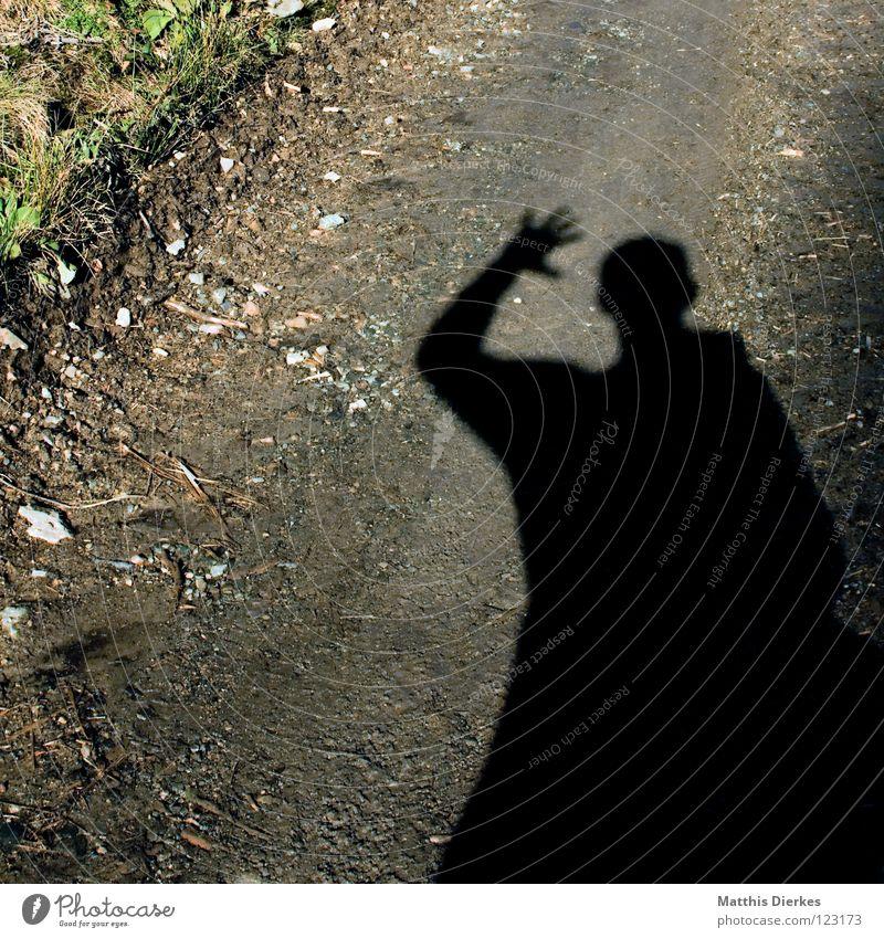 Waidmanns Heil! Mensch Natur Hand Wiese Gras Stein gefährlich Sträucher bedrohlich Kommunizieren Freundlichkeit Fußweg Jagd Leidenschaft Sturm Quadrat