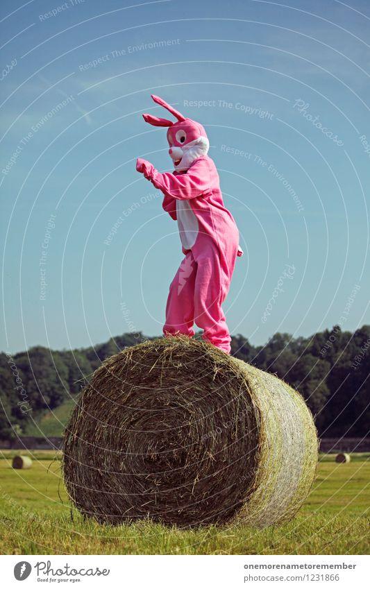 DANCER Freude Bewegung lustig Kunst rosa ästhetisch Tanzen hoch Hase & Kaninchen Radio Kunstwerk Blauer Himmel Karnevalskostüm spaßig Spaßvogel Heuballen