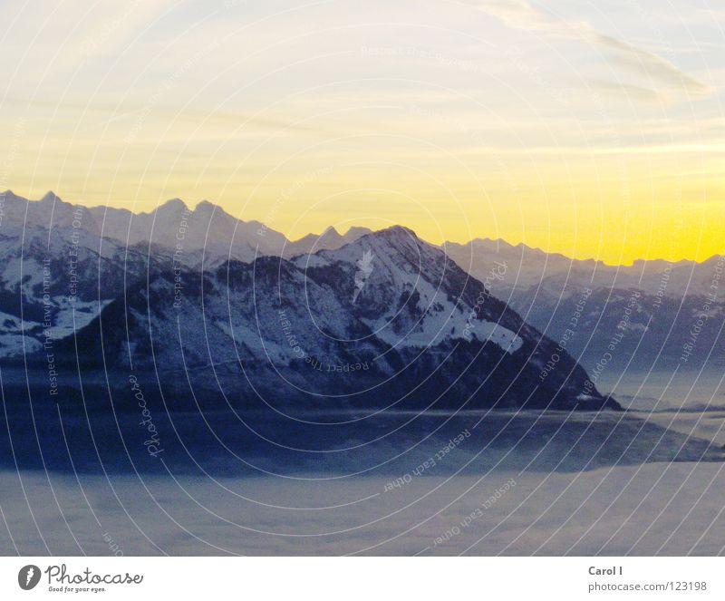 Königin der Alpen Rigi Luzern Kanton Schwyz Vierwaldstätter See Panorama (Aussicht) gelb violett Sonnenuntergang Berge u. Gebirge Dämmerung Abend Schweiz Nebel