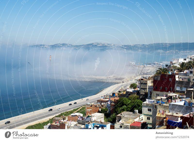 Nebel-Meer Umwelt Natur Landschaft Luft Wasser Himmel Wolkenloser Himmel Sommer Klima Wetter Pflanze Baum Hügel Wellen Küste Mittelmeer Tanger Marokko Afrika