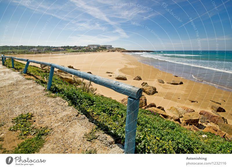 verlassener Strand Umwelt Natur Landschaft Pflanze Luft Wasser Himmel Horizont Sommer Wetter Schönes Wetter Blume Gras Felsen Wellen Küste Meer Atlantik Sand