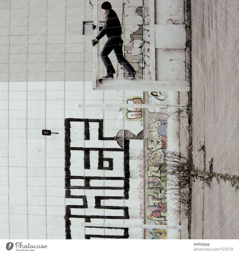 policy of truth Mann Silhouette Dieb Krimineller Rampe Laderampe Fußgänger Schacht Tunnel Untergrund Ausbruch Flucht umfallen Fenster Parkhaus Geometrie