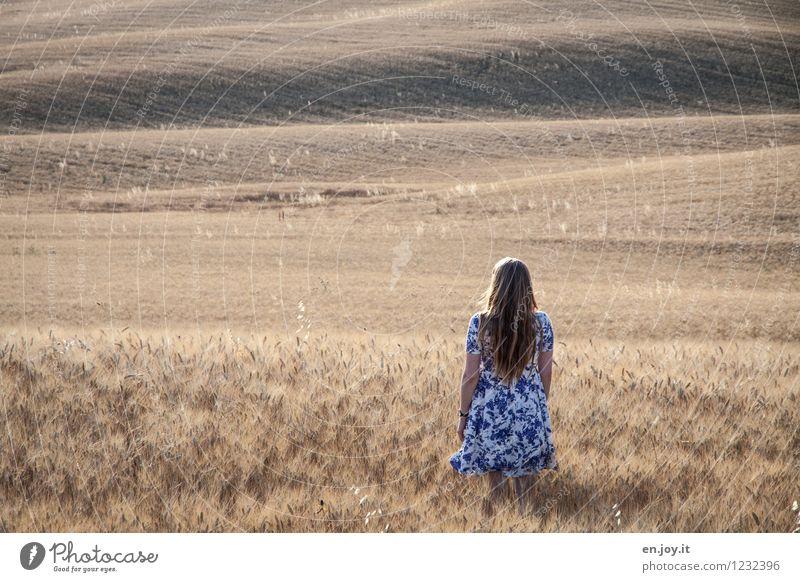 romandisch feminin Junge Frau Jugendliche Erwachsene 1 Mensch 13-18 Jahre Kind 18-30 Jahre Sommer Feld Hügel Kornfeld Italien Toskana Kleid blond langhaarig