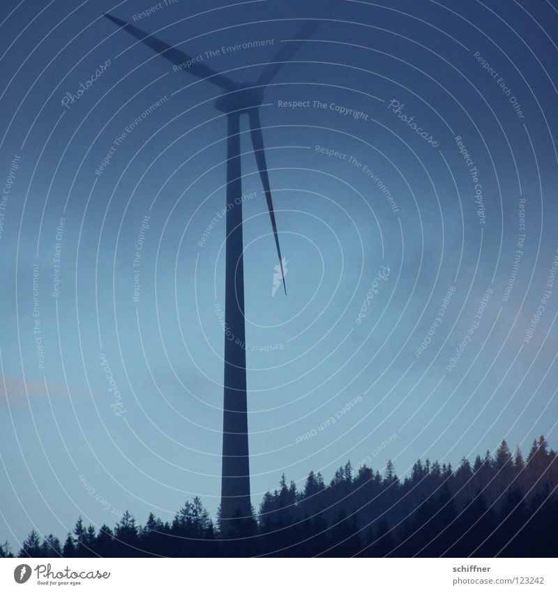 Nebelpause Himmel Winter ruhig Wald Luft Wind Wetter Energiewirtschaft Technik & Technologie Pause bedrohlich Sauberkeit Windkraftanlage Tanne Strommast