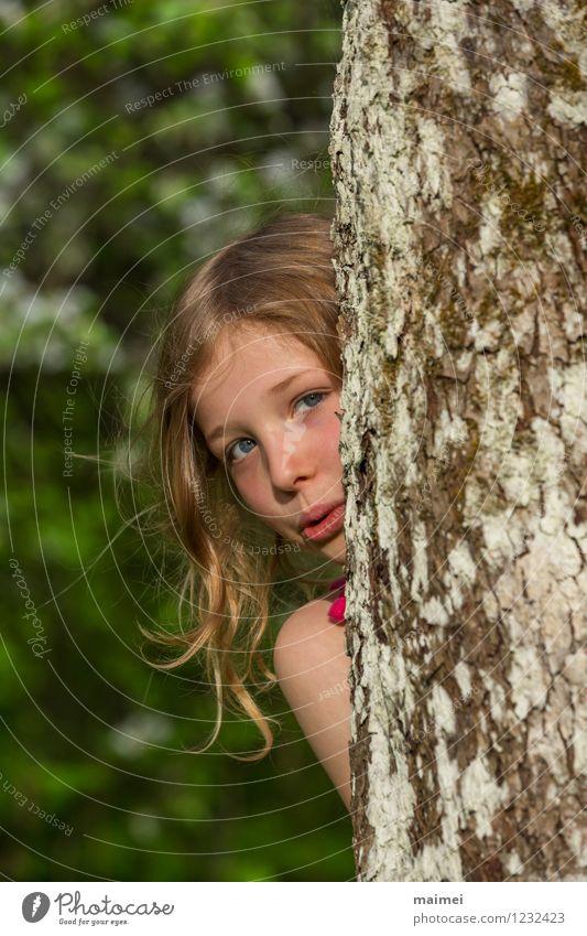 Kuckuck hier bin ich Mensch Kind Natur schön Sommer Baum Freude Mädchen Frühling natürlich Spielen klein Freizeit & Hobby Kindheit blond Fröhlichkeit