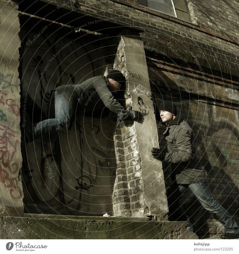 beistand Mann Silhouette Dieb Krimineller Rampe Laderampe Fußgänger Schacht Tunnel Untergrund Ausbruch Flucht umfallen Fenster Parkhaus Geometrie Gegenlicht