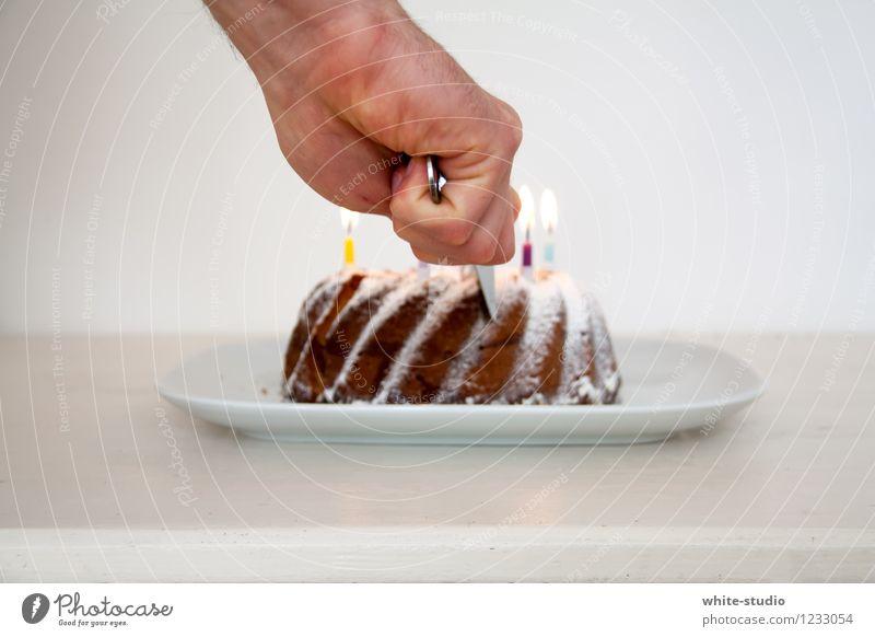 Jammi! Foodfotografie Feste & Feiern Lifestyle Party Wohnung Geburtstag Ernährung süß Kerze lecker Kuchen Vorfreude Backwaren Feiertag brennen Messer