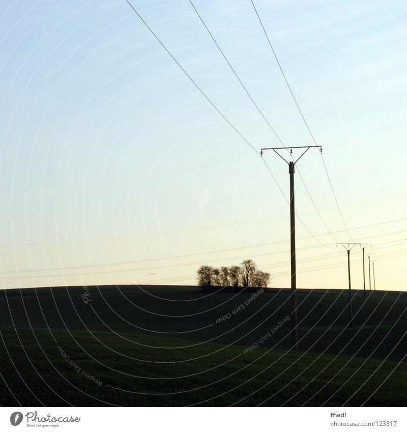 voltage Natur Landschaft Feld Perspektive Elektrizität Technik & Technologie Kabel Strommast Leitung Elektrisches Gerät