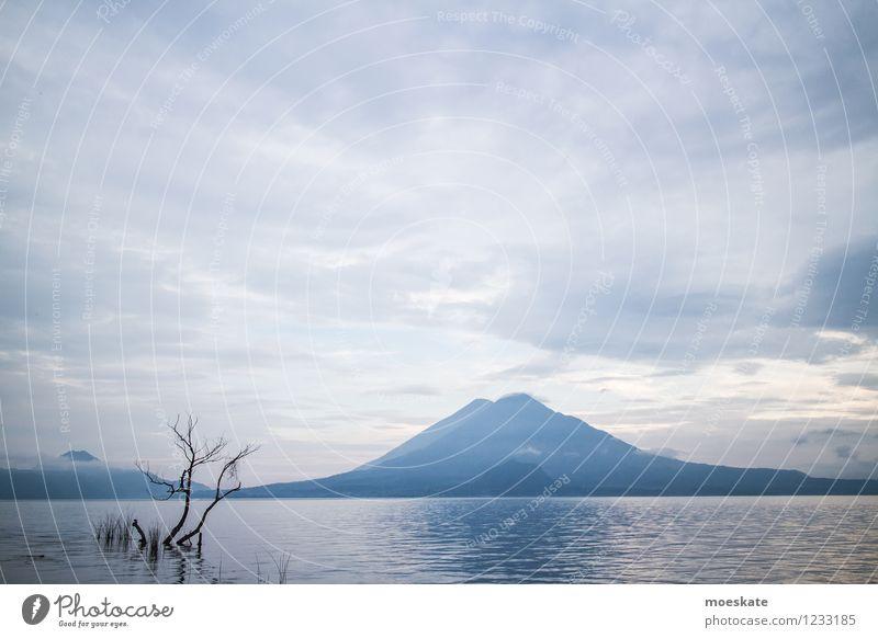 Atitlansee - Guatemala Umwelt Natur Landschaft Urelemente Wasser Himmel Wolken Horizont Sommer Baum Vulkan Küste Seeufer blau Ferien & Urlaub & Reisen