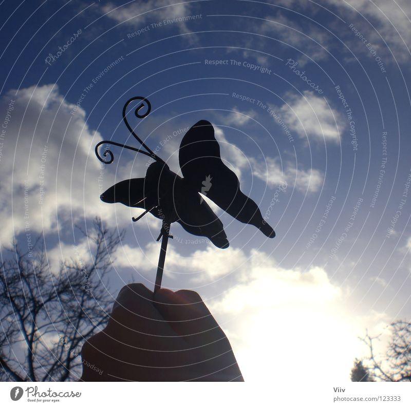 Aus dem Bauch heraus... Wolken Schmetterling Hand Winter kalt Fühler süß Hoffnung schwarz Spielen Himmel Sonne Flügel fliegen fly blau Schatten Freiheit Insekte