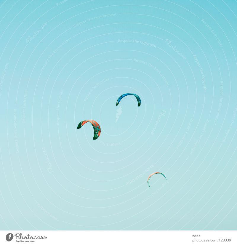 Fliegen II Strand Sommer nass Kiting Physik heiß Wolken Spielen blau Freude fliegen Wärme Himmel Schönes Wetter sportlich festhalten Außenaufnahme