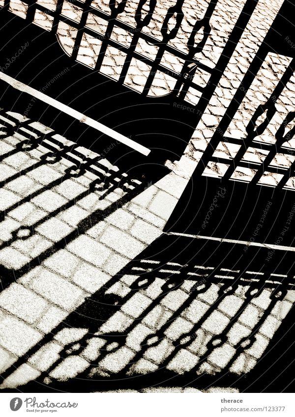 shot on goal Schwarzweißfoto Außenaufnahme Menschenleer Schatten Silhouette Sonnenlicht Schönes Wetter Regen Garten Park Altstadt Burg oder Schloss Tor Tür