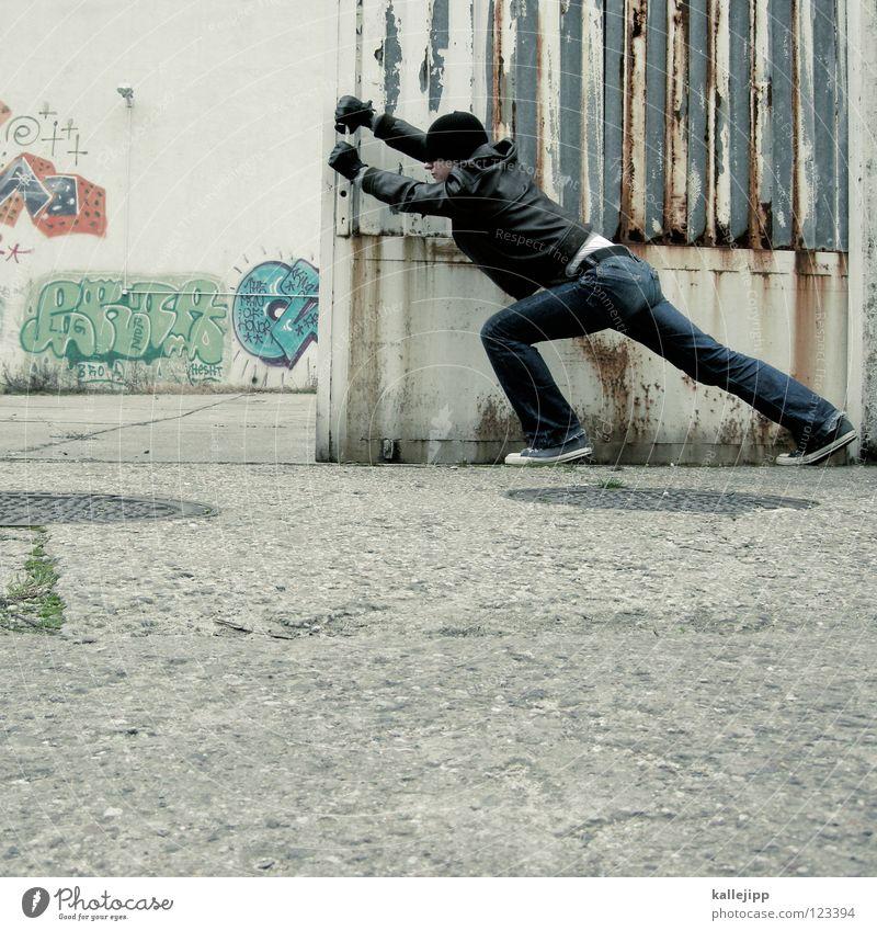 come in and find out alt verfallen Verfall schäbig Dieb Hinterhof Krimineller Grundstück Junger Mann Lederjacke betreten eindringen Werkhof Eisentor Hausfriedensbruch Grundstücksgrenze