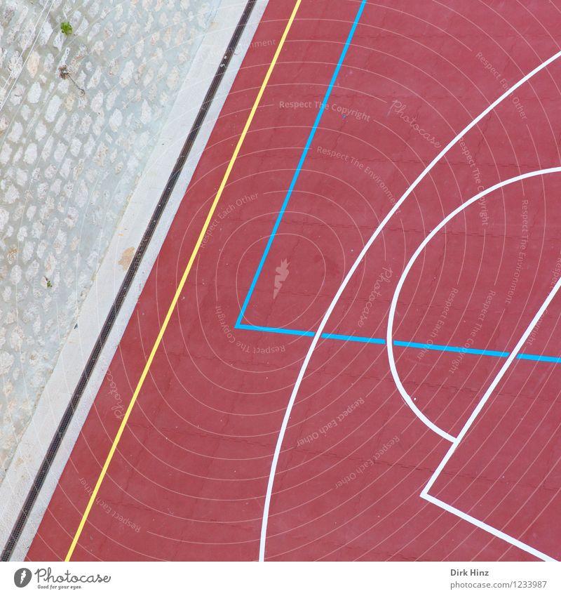 Matchbase II blau rot gelb Wand Architektur Stil Mauer Spielen Linie rosa Design Ordnung ästhetisch Bauwerk Spielfeld graphisch