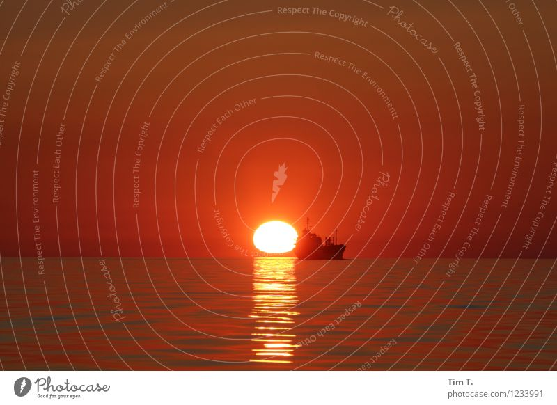 in den Sonnenuntergang Umwelt Natur Landschaft Wasser Himmel Wolkenloser Himmel Sonnenaufgang Ostsee Meer Verkehrsmittel Verkehrswege Berufsverkehr Schifffahrt