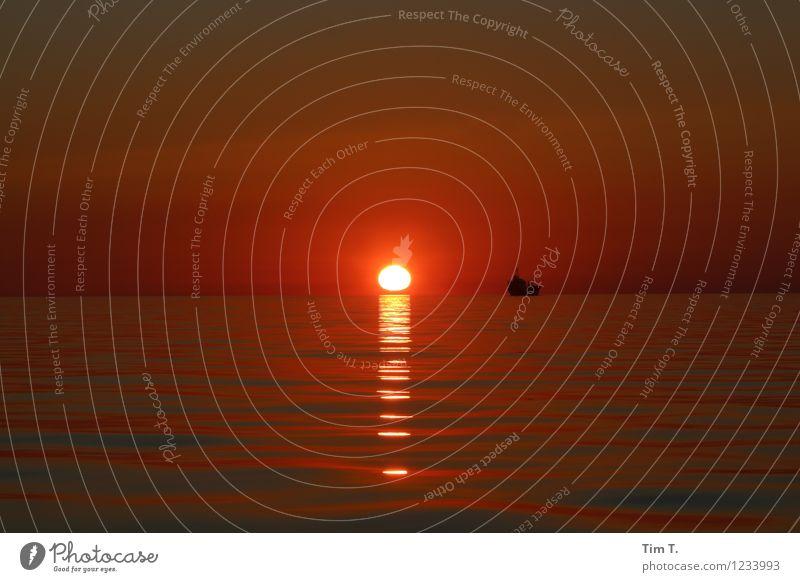 Nichts Sonne Sonnenaufgang Sonnenuntergang Ostsee Meer Kitsch Schifffahrt Abenddämmerung Wasserfahrzeug Farbfoto Außenaufnahme Menschenleer Dämmerung Licht