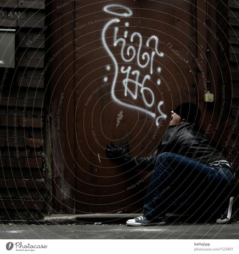 mundstunk Mensch Mann blau weiß Hand rot ruhig Freude kalt Wand sprechen Graffiti Gefühle lustig Mauer Kunst