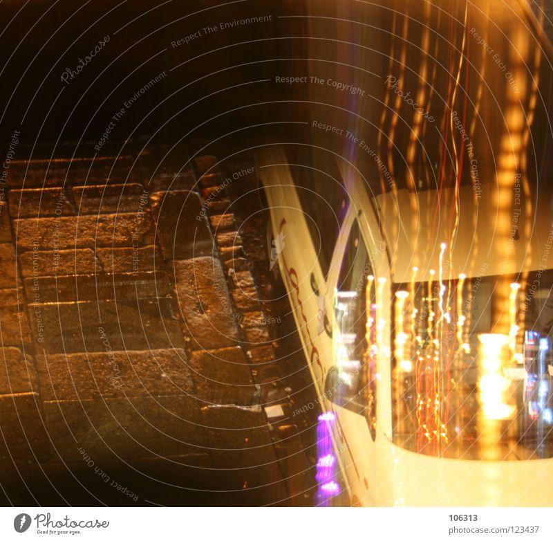 TAXI DRIVER gelb Feste & Feiern oben PKW Musik Perspektive Tanzen warten violett fahren heimwärts Alkoholisiert Nachtleben Absturz ausgehen kutschieren