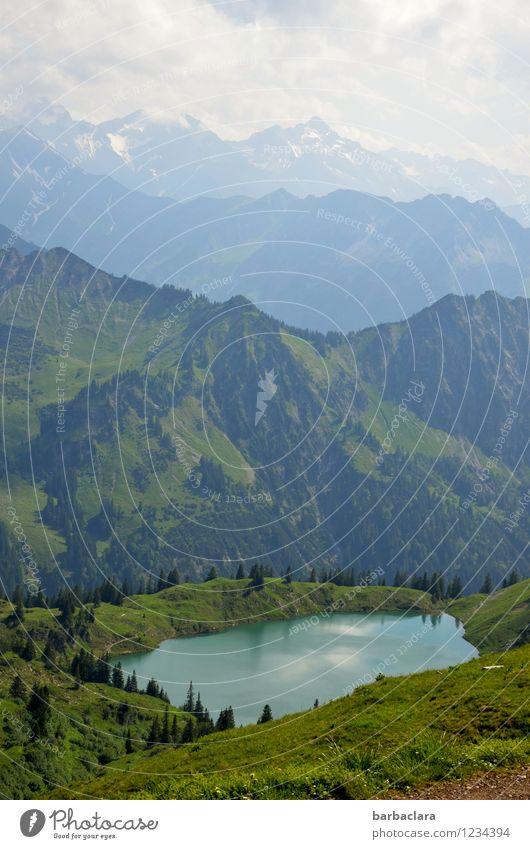 Bergsee Himmel Natur Ferien & Urlaub & Reisen Sommer Wasser Landschaft Wolken Ferne kalt Berge u. Gebirge Umwelt Freiheit See Stimmung Horizont Freizeit & Hobby
