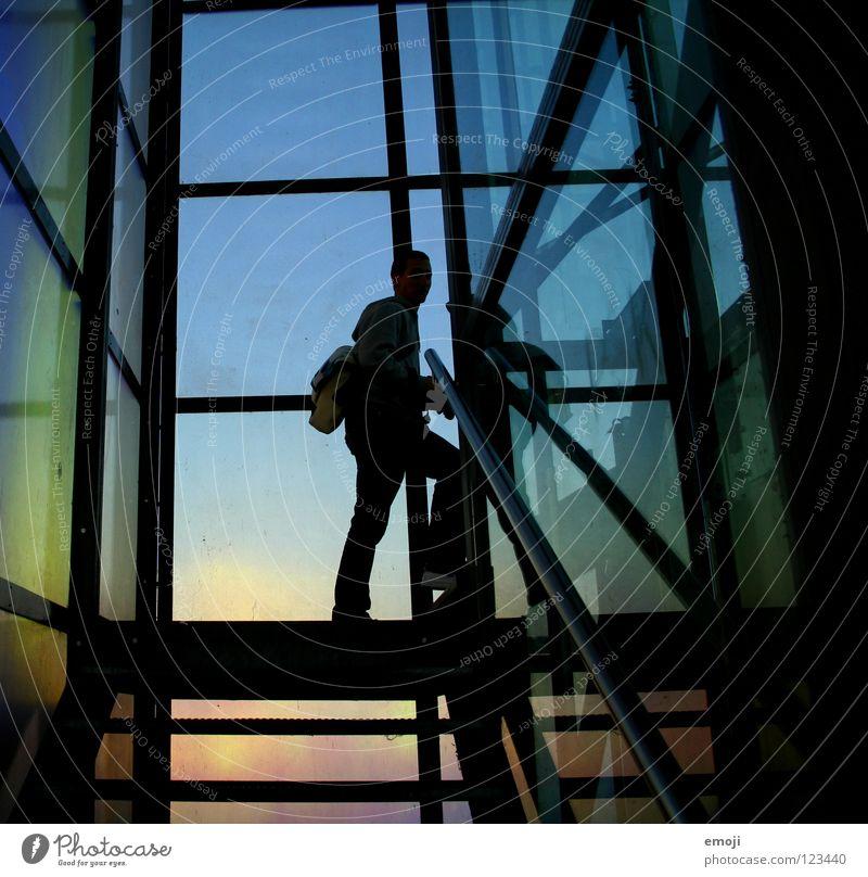 coloured. Mensch Mann blau Farbe kalt Gebäude Linie Kunst Glas Fröhlichkeit Treppe modern Coolness Kultur gut