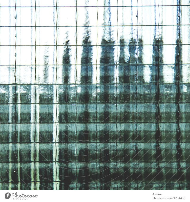 AST 7 Pott | Netzschwankungen Fassade Glasscheibe Riffelglas Sicherheitsglas Trennwand Metall Linie Netzwerk grün schwarz türkis unklar unsichtbar Unschärfe