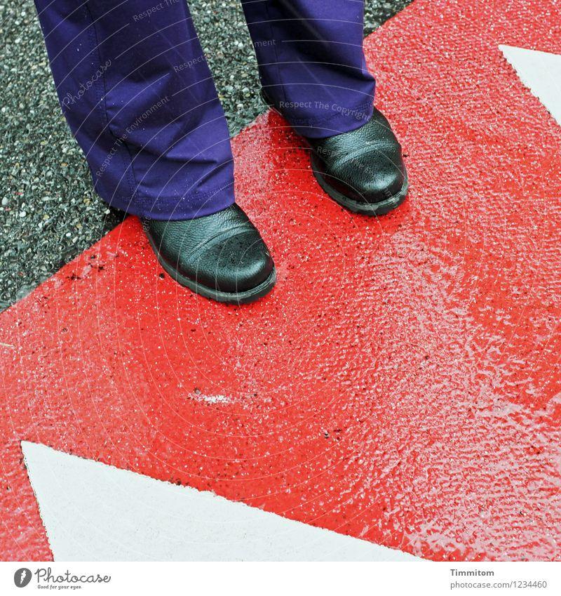 geometrisch | mit Füßen getreten Straße Hose Schuhe Schilder & Markierungen Linie stehen nass grau violett rot schwarz weiß Geometrie Dreieck Farbfoto