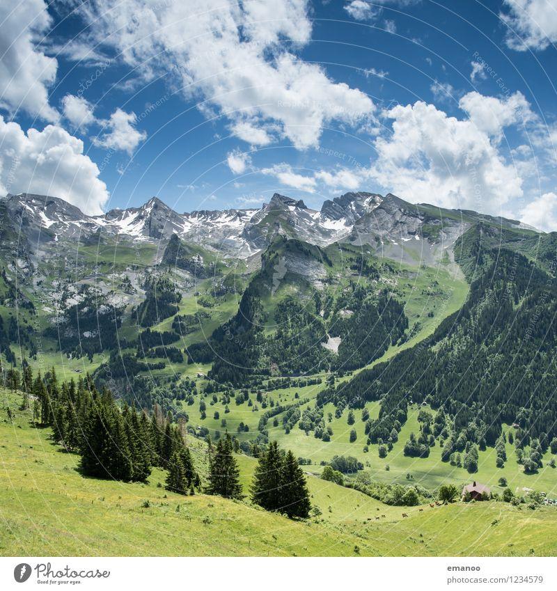 french alps Himmel Natur Ferien & Urlaub & Reisen blau Pflanze grün Sommer Landschaft Wolken Ferne Wald Berge u. Gebirge Wiese Freiheit Felsen Freizeit & Hobby