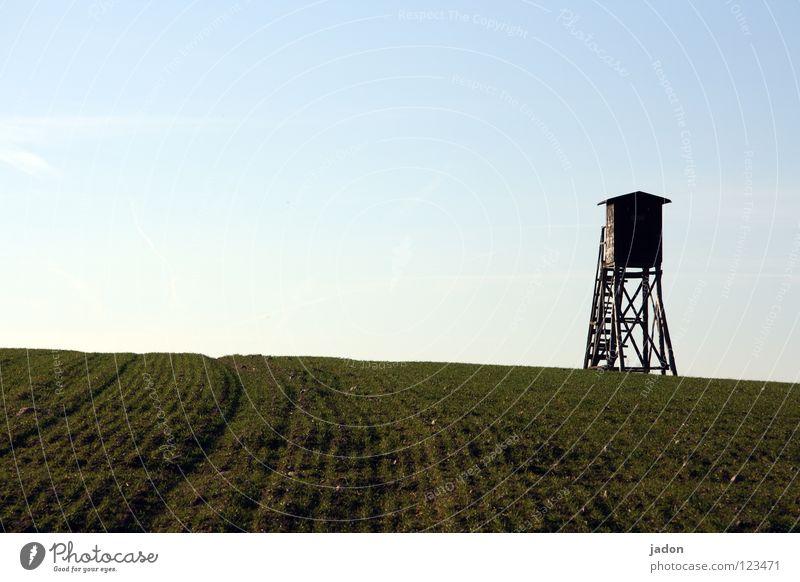 Feldherr Himmel blau weiß Wolken ruhig Einsamkeit Ferne Wiese Landschaft Horizont Raum Hintergrundbild Wohnung Macht Turm