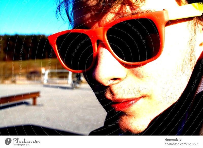 cool män Brille Sonnenbrille grell rosa verrückt lässig Blues Jugendliche Coolness modern Farbe mehrfarbig ausgeflippt trendy Künstler Ray-Ban rosarote Brille
