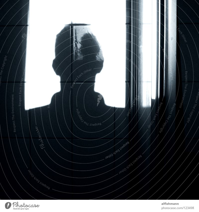 Shadow in the head Mann blau Kopf Denken Ohr Konzentration Schatten Dusche (Installation) Unter der Dusche (Aktivität)
