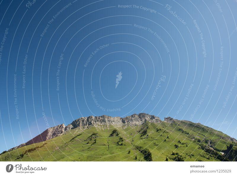 Hügel Ferien & Urlaub & Reisen Tourismus Berge u. Gebirge wandern Natur Landschaft Luft Himmel Klima Gras Felsen Alpen Gipfel groß hoch rund Sauberkeit blau