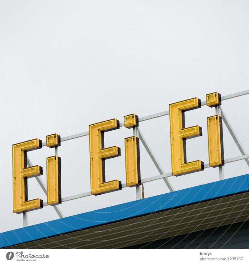 Eierei Eiergerichte Ernährung Alkohol Spirituosen Himmel Dach Leuchtreklame Schriftzeichen Werbung leuchten ästhetisch außergewöhnlich lustig positiv blau gelb
