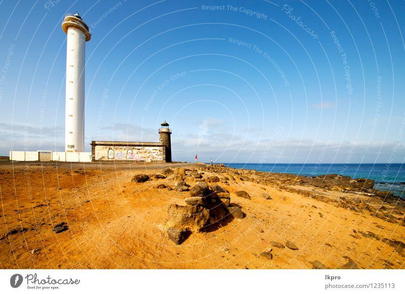 Atlantik Lanzarote Teller Ferien & Urlaub & Reisen Ausflug Meer Lampe Himmel Wolken Felsen Leuchtturm Architektur Fassade Denkmal Stein Beton Metall Stahl Rost