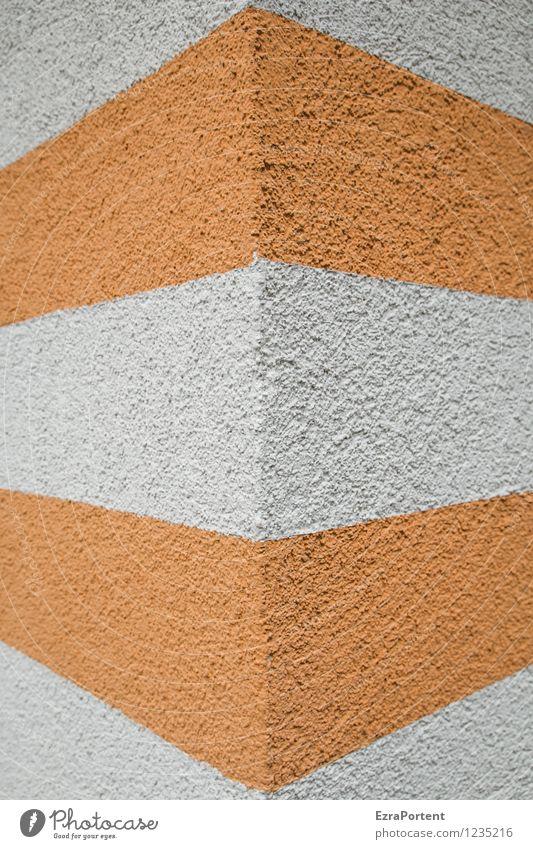 eine Hochkant Stadt Haus Bauwerk Gebäude Architektur Mauer Wand Fassade Beton Linie Streifen ästhetisch grau orange weiß Design Farbe Ecke Strukturen & Formen