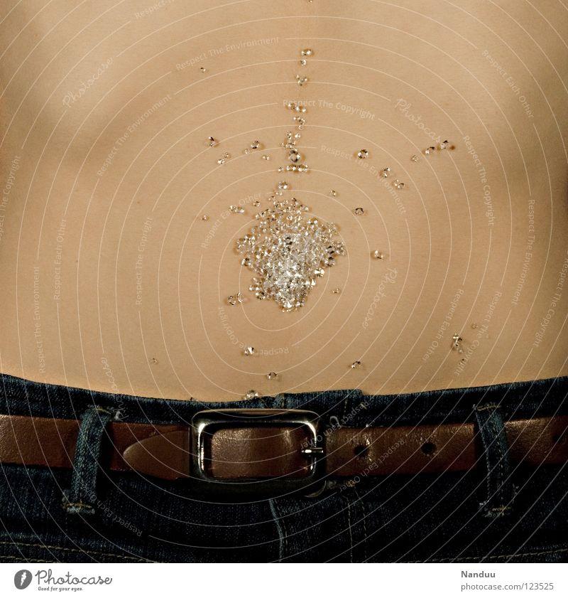Der Nabel der Welt schön Mode Glas glänzend Hintergrundbild Ecke Jeanshose Dekoration & Verzierung Vergänglichkeit Kitsch dünn Hose Reichtum Schmuck Bauch