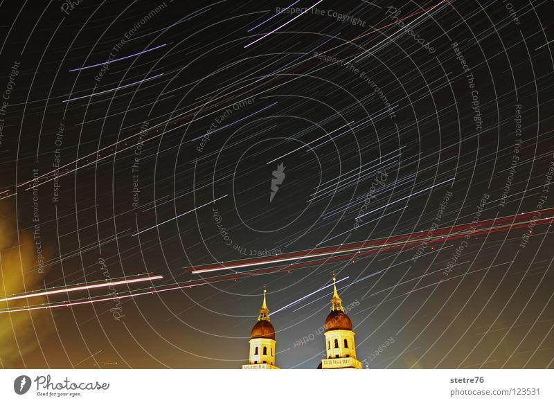 Chaos in the Sky Himmel Natur blau rot schwarz gelb Farbe dunkel Landschaft Religion & Glaube Nebel Stern Flugzeug Verkehr Technik & Technologie Rauch