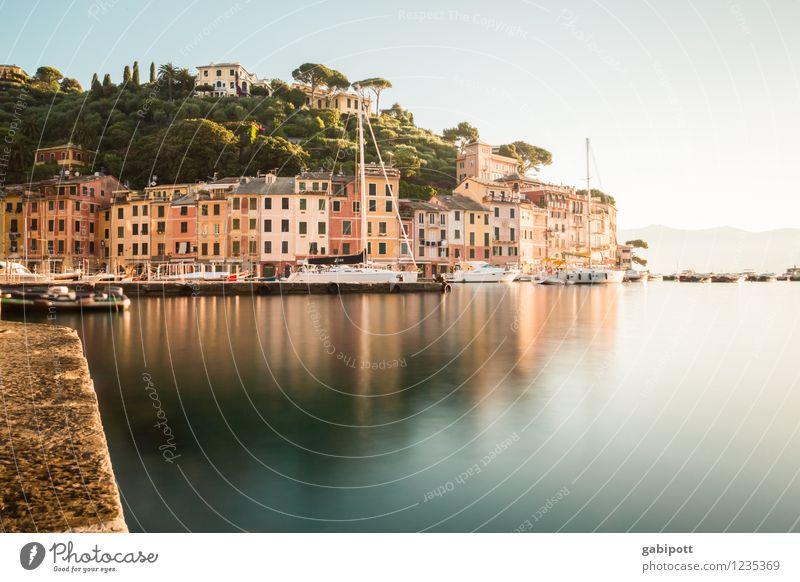 Portofino Ferien & Urlaub & Reisen Sommer Sonne Erholung Meer ruhig Strand Leben Küste Fassade Tourismus Fröhlichkeit Lebensfreude Italien Europa Schönes Wetter