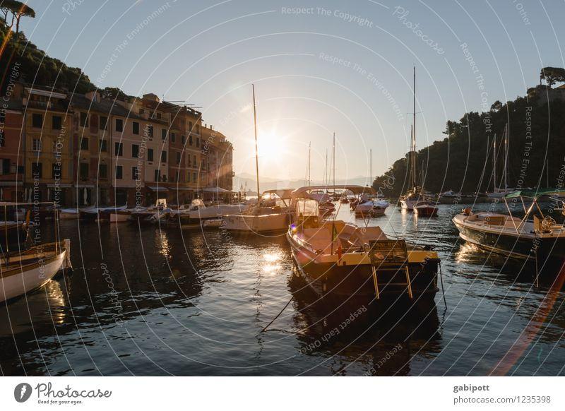 Portofino Ferien & Urlaub & Reisen Landschaft Wasser Wolkenloser Himmel Sonnenaufgang Sonnenuntergang Sonnenlicht Sommer Hügel Küste Bucht Meer Idylle