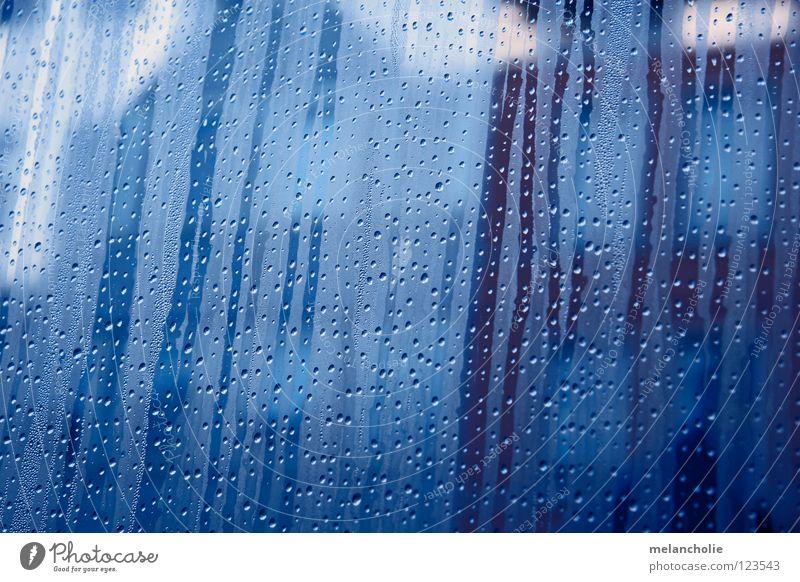 drops nass Fenster Streifen durchsichtig weiß rot braun kalt Physik Wasser Wassertropfen blau Glas Wärme Regen gelehrt Wasserdampf Innenaufnahme