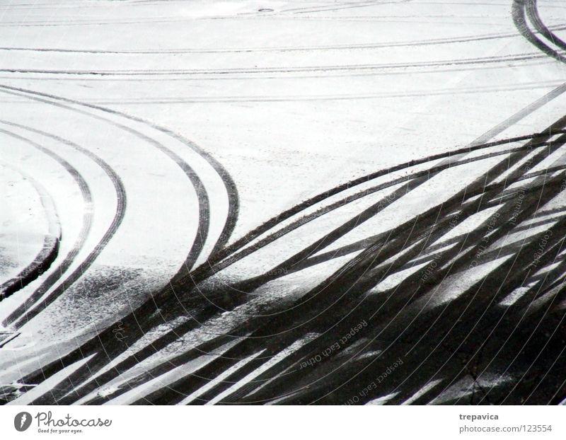 fahrspuren weiß Winter Straße kalt Schnee grau Bewegung Wege & Pfade Linie Wetter Hintergrundbild Bodenbelag fahren Spuren Jahreszeiten Autofahren